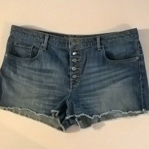 mossimo shorts size 16 stretch high rise blue fray